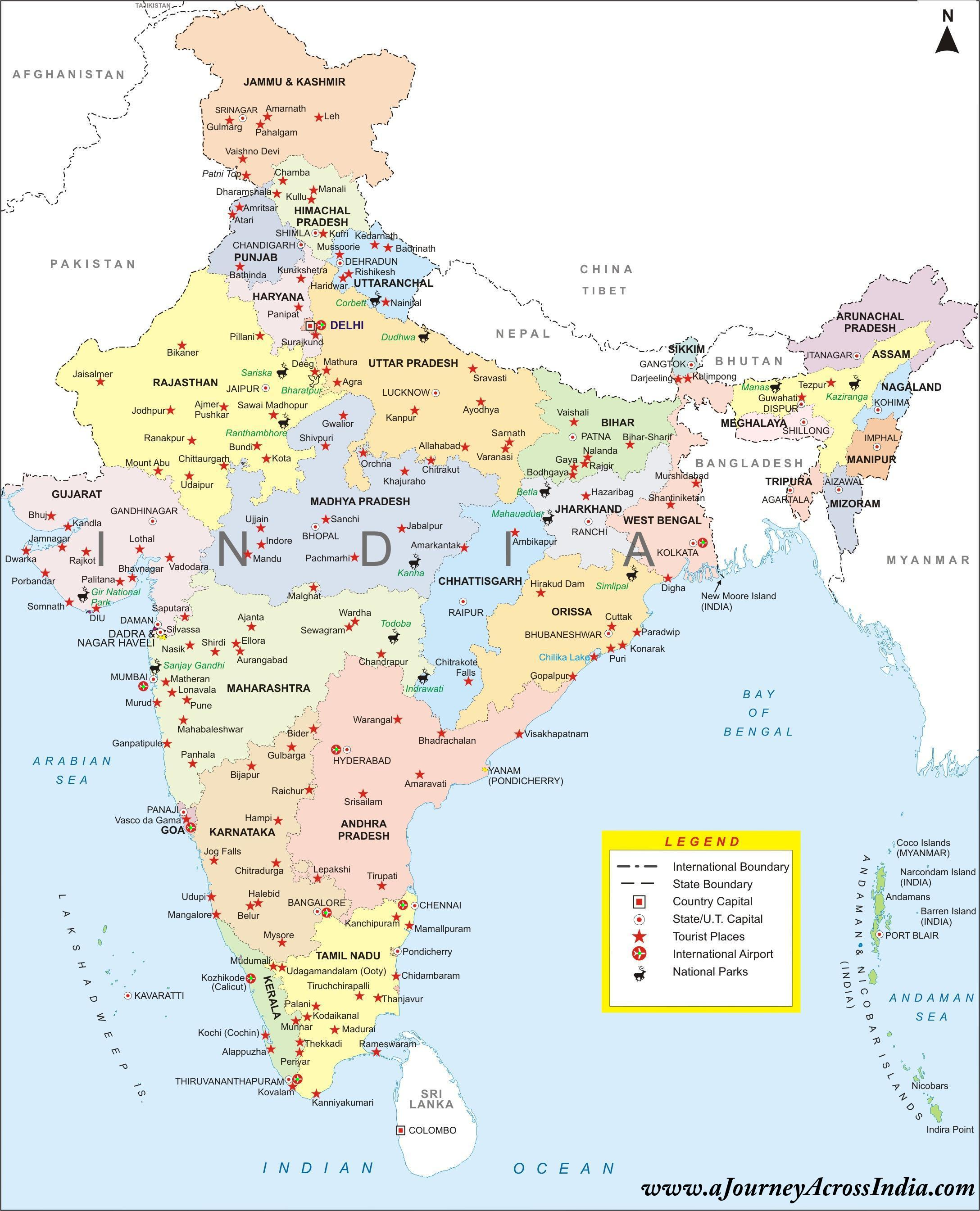 Intia Kartta Jossa Kaikki Kaupungit Kartta Intian Osavaltioissa