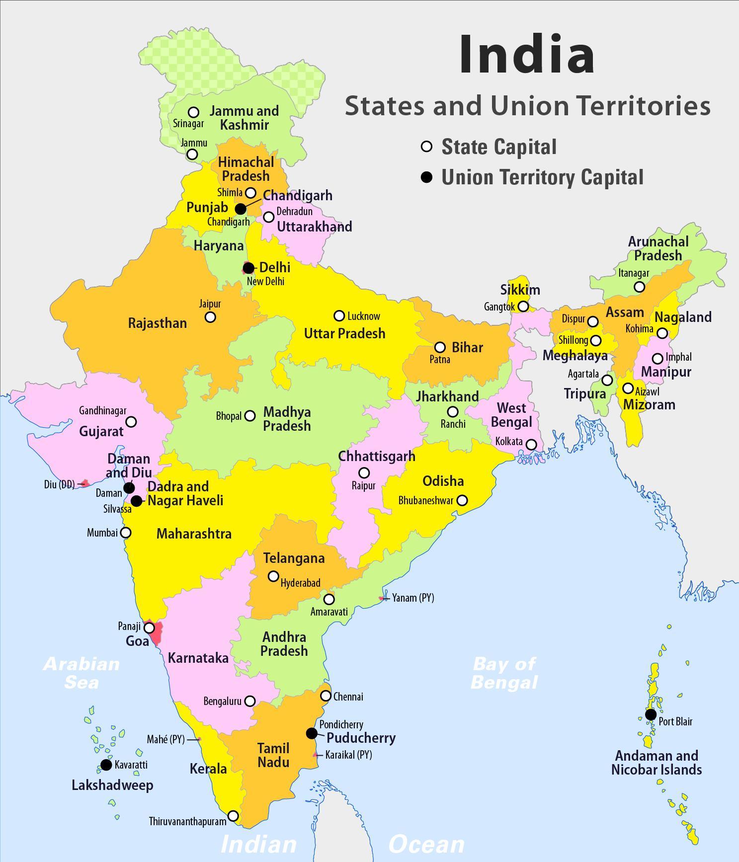 Intia Kartta Jossa Unionin Alueella Unionin Alueiden Intian