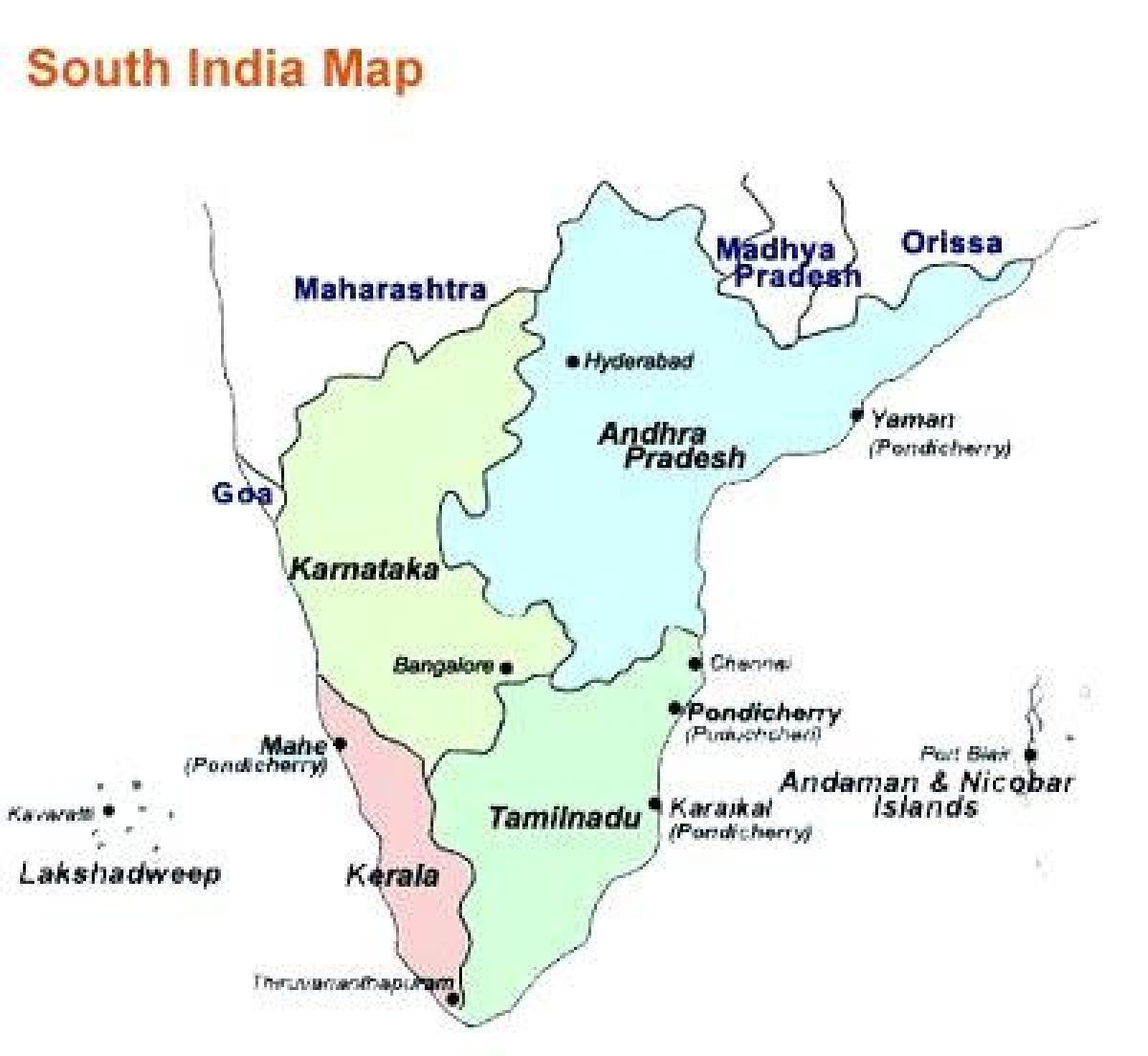 Etela Intia Kartta Jossa Kaupungit Kartta Etela Intian