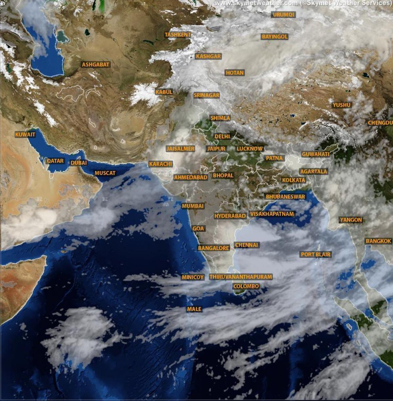 Intia Saa Satelliitti Kartta Intia Satelliitti Saa Kartta Etela
