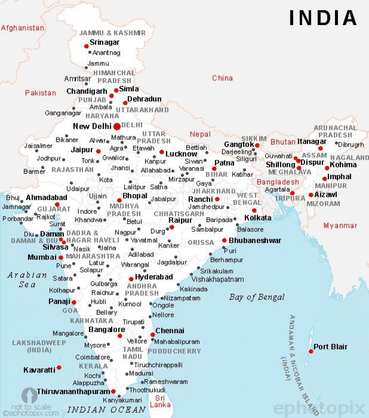 Intian Kaupungeissa Map Intia Kartta Jossa Kaupungit Etela
