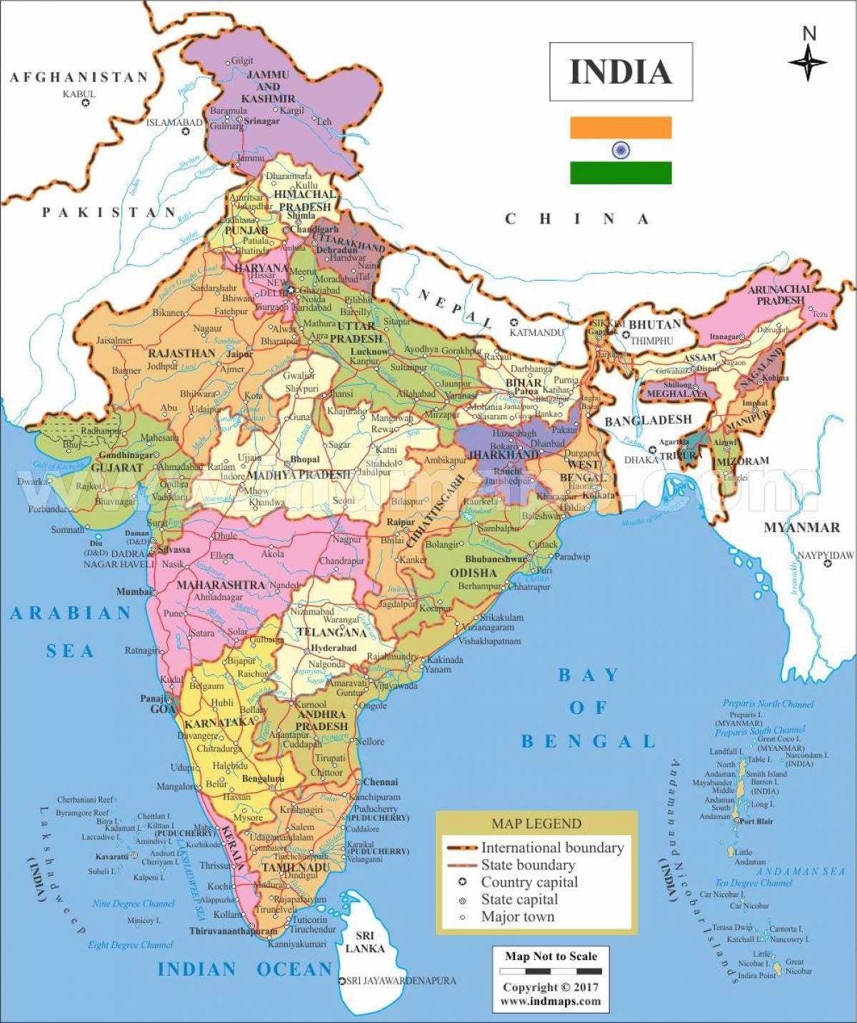 Kartta Intiassa Ja Intian Kartta Etela Aasia Aasia