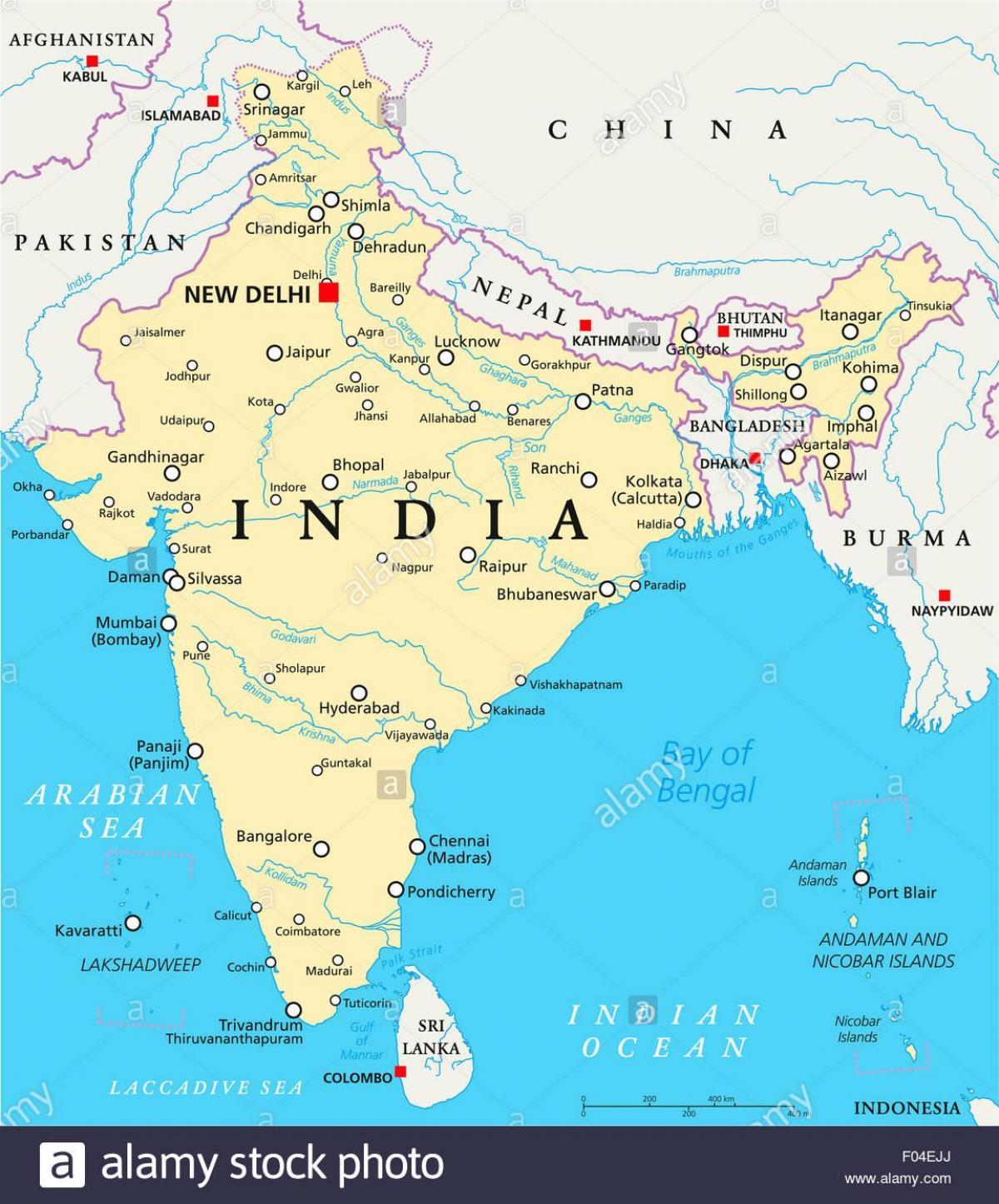 Uusi India Map Intia Kartta Uusi Etela Aasia Aasia