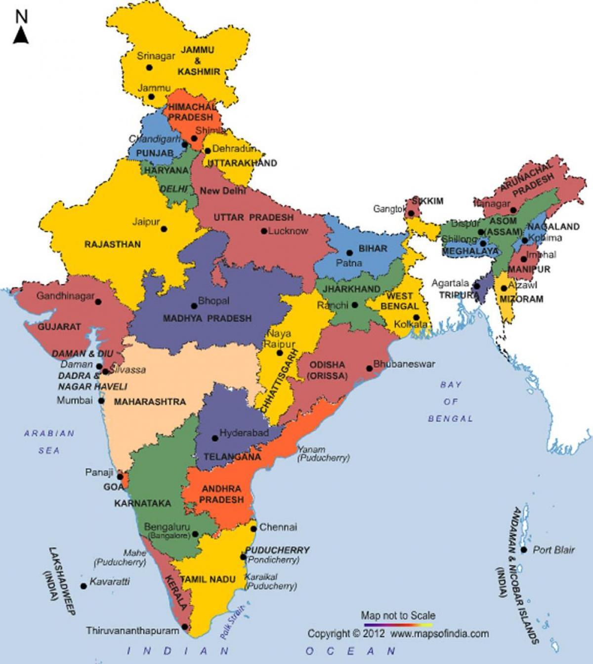 Uusin Kartta Intian Ja Intian Uusin Kartta Etela Aasia Aasia